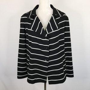 Chicos Blazer Striped Knit Jacket Size 3 XL Black